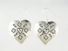 Sterling Silver Hand Stamped Heart Earrings (ER2414)