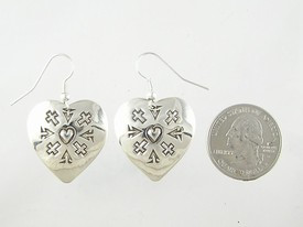 Sterling Silver Hand Stamped Heart Earrings (ER2415)