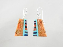 Sponge Coral & Gemstone Inlay Earrings