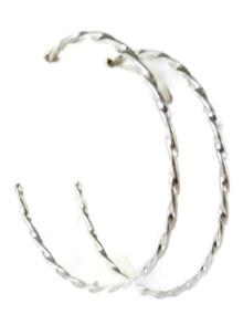 Sterling Silver Hoop Earrings, Large Silver Hoop Earrings by Elaine Tahe, Navajo