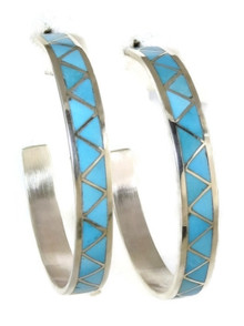 Turquoise Inlay Hoop Earrings by Zuni Indian Claudine Haloo, Large Turquoise Hoops