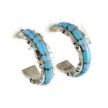 Turquoise Inlay Hoop Earrings by Sheldon Lalio, Zuni Indian