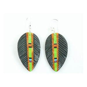 Jet & Gemstone Inlay Feather Slab Earrings by Ronald Chavez, Santo Domingo