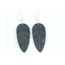 ON HOLD - Black Jet Feather Slab Earrings by Ronald Chavez, Santo Domingo