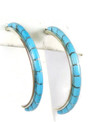 Turquoise Inlay Hoop Earrings by Kenny Chavez, Zuni Indian Jewelry