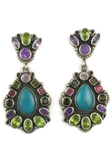 Turquoise, Amethyst, Garnet & Peridot Cluster Earrings