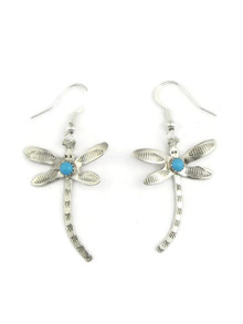 Turquoise & Silver Dragonfly Earrings by Art Platero, Navajo