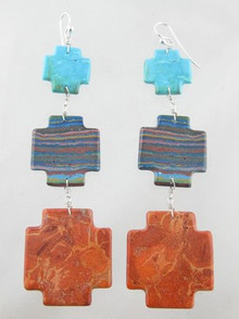 Turquoise & Gemstone Cross Slab Earrings