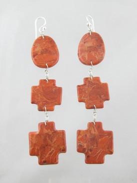 Sponge Coral Cross Slab Earrings