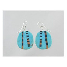 Turquoise & Gemstone Inlay Slab Earrings