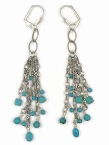 Sterling Silver Turquoise Dangle Earrings (ER2756)