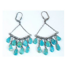 Turquoise Chandelier Beaded Earrings - Turquoise Dangle Earrings (ER2803)
