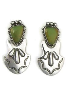 Silver Green Kingman Turquoise Earrings by Fritson Toledo