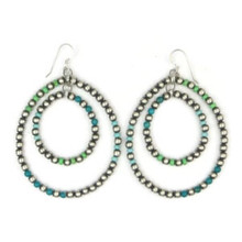 Turquoise & Silver Bead Double Loop Earrings (ER2940)