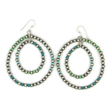 Turquoise & Silver Bead Double Loop Earrings (ER2945)