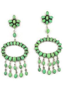 Large Variscite Chandelier Dangle Earrings by Elenor Largo, Navajo
