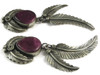 Purple Spiny Oyster Shell Feather Earrings By Lydia Begay, Navajo