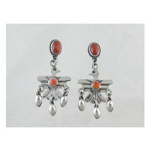 Sterling Silver Coral & Spiny Oyster Shell Thunderbird Earrings