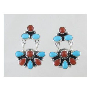 Sleeping Beauty Turquoise & Mediterranean Coral Dangle Earrings