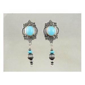 Sterling Silver Turquoise Dangle Earrings (ER3221)