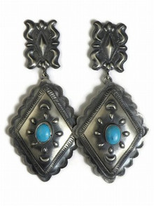 Handmade Sterling Silver Turquoise Earrings by Eugene Charley, Navajo