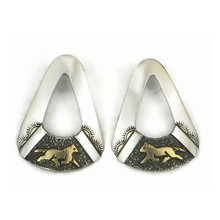 12k Gold & Sterling Silver Horse Earrings by Tommy Singer, Navajo