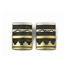 12k Gold & Sterling Silver Earrings by Tommy Singer, Navajo (ER3345)