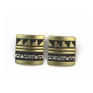 12k Gold & Sterling Silver Earrings by Tommy Singer, Navajo (ER3355)