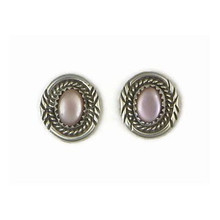 Sterling Silver Pink Mother of Pearl Post Earrings