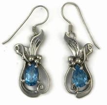 Sterling Silver Blue Topaz Earrings by Les Baker
