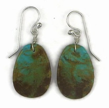 Turquoise Slab Earrings by Ronald Chavez, Santo Domingo Indian (ER3400)