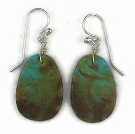 Turquoise Slab Earrings by Ronald Chavez, Santo Domingo Indian (ER3400)