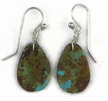 Turquoise Slab Earrings by Ronald Chavez, Santo Domingo Indian (ER3403)