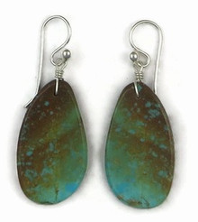 Turquoise Slab Earrings by Ronald Chavez, Santo Domingo Indian, Turquoise Slab Earrings (ER3423)