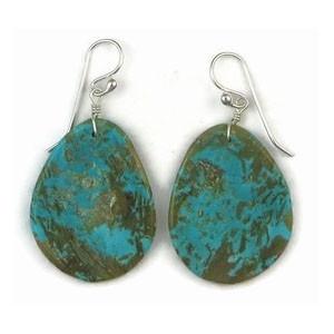 Turquoise Slab Earrings, Santo Domingo Turquoise Slab Earrings by Ronald Chavez