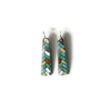 Turquoise & Gemstone Mosaic Inlay Earrings by Charlene & Frank Reano, San Felipe / Santo Domingo Inlay Jewelry