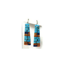 Turquoise, Coral & Lapis Earrings by Charlene & Frank Reano, San Felipe / Santo Domingo