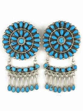 Turquoise Petite Point Cluster Earrings by Jeffrey James, Navajo