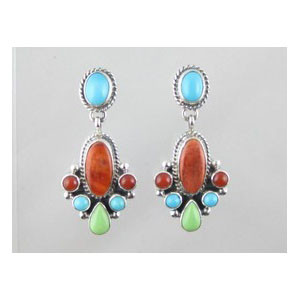 Multi Gemstone Dangle Earrings (ER3610)