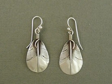 Sterling Silver Feather Earrings by Lena Platero, Navajo (ER3702)