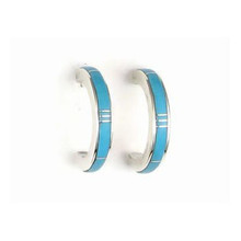 Sleeping Beauty Turquoise Inlay Hoop Earrings by Rick Julius