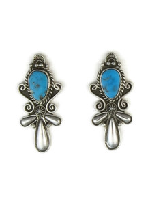 Handmade Sleeping Beauty Turquoise Earrings by Fritson Toledo, Navajo