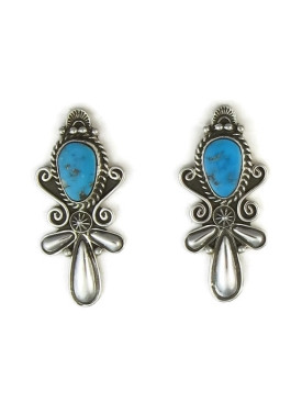 Handmade Sleeping Beauty Turquoise Earrings by Fritson Toledo, Navajo