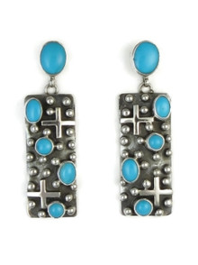 Sterling Silver Sleeping Beauty Turquoise Cross Earrings by Ronnie Willie, Navajo