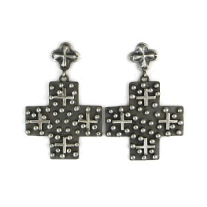 Large Sterling Silver Cross Earrings by Ronnie Willie, Navajo