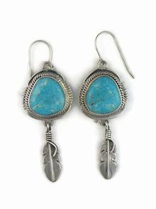Sterling Silver Royston Feather Earrings by John Nelson, Navajo (ER3825)