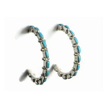 Turquoise Needle Point Hoop Earrings Zuni Indian