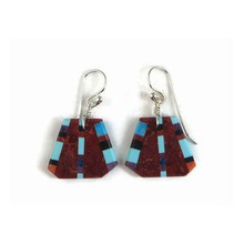 Sponge Coral & Gemstone Inlay Slab Earrings by Ronald Chavez, Santo Domingo (ER3848)