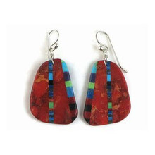 Sponge Coral & Gemstone Inlay Slab Earrings by Ronald Chavez, Santo Domingo (ER3857)