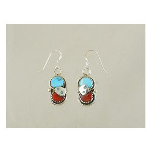 Effie Calavaza Silver Turquoise & Coral Dangle Earrings (ER3940)
